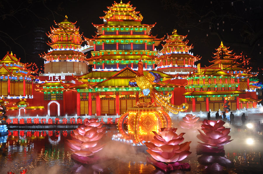 Illuminations for the Zigong International Dinosaur Lantern Festival in Zigong, southwest China's Sichuan Province.
