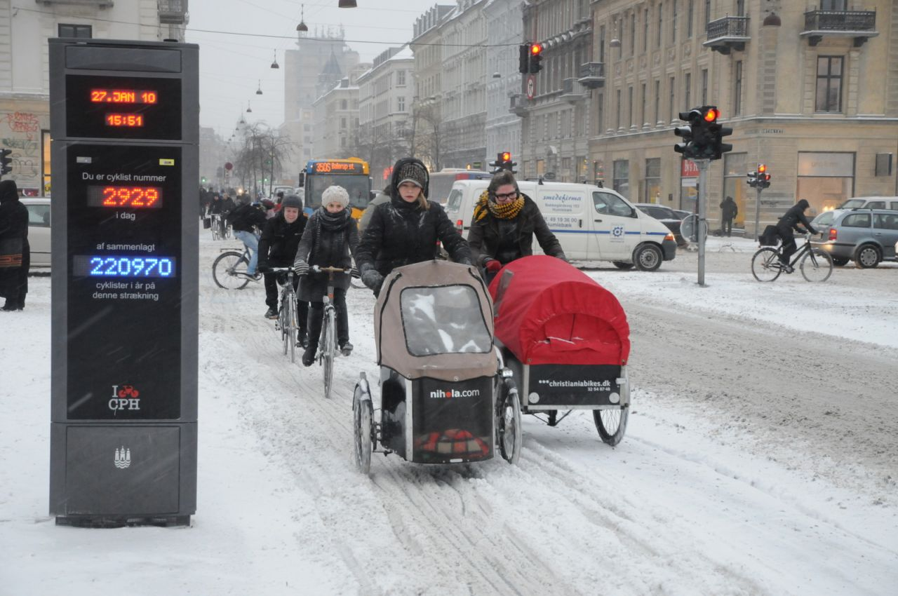 The cargo bike is very popular amongst Copenhageners transporting for example children or groceries from A to B.