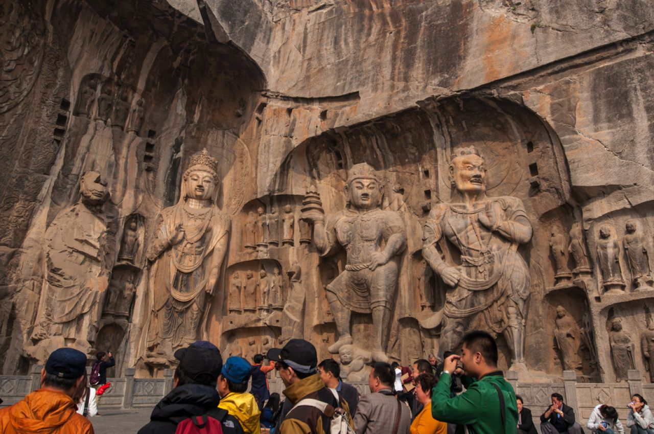 Visitors at Longmen grottoes in Luoyang, a UNESCO World Heritage Site.