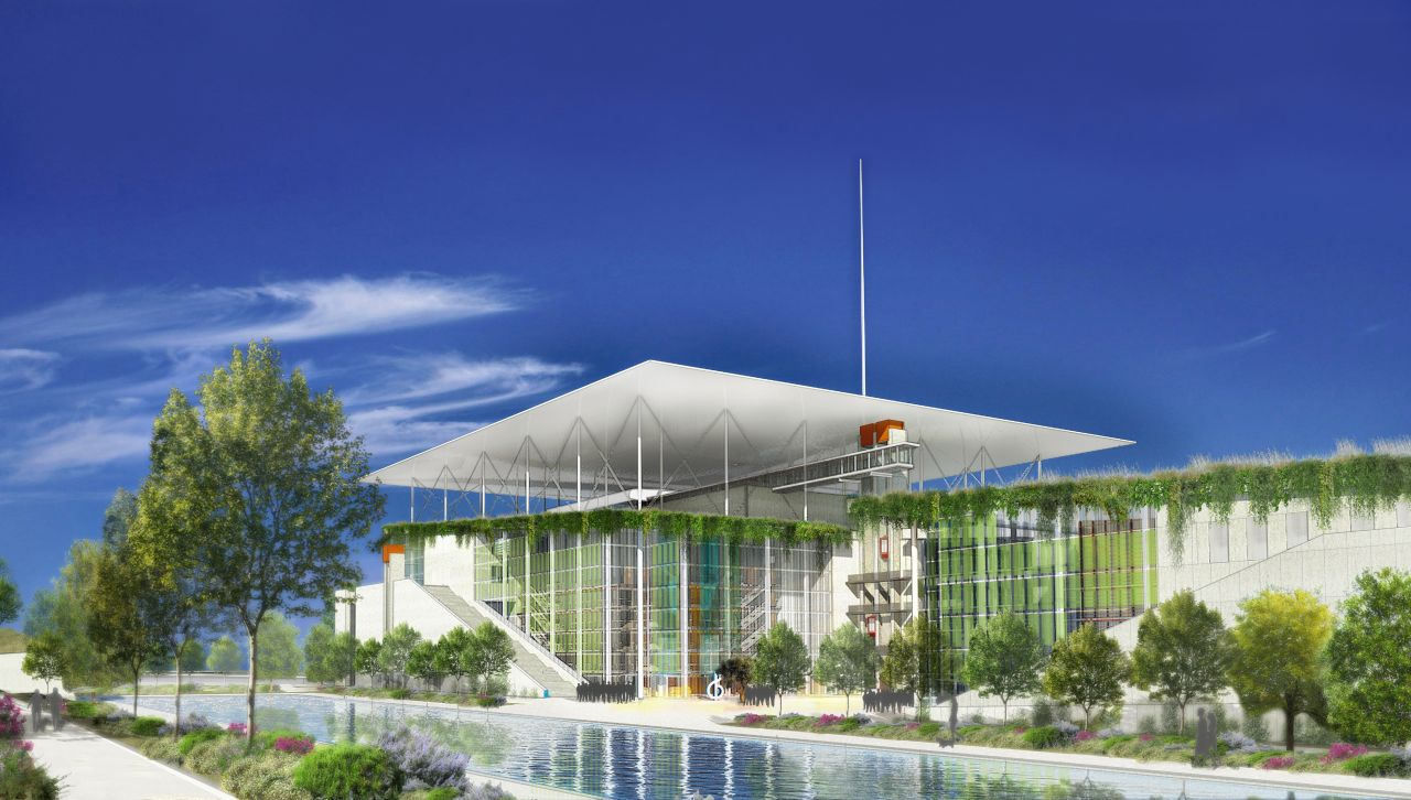 A photovoltaic canopy dominating the new building will fully cover its energy needs.