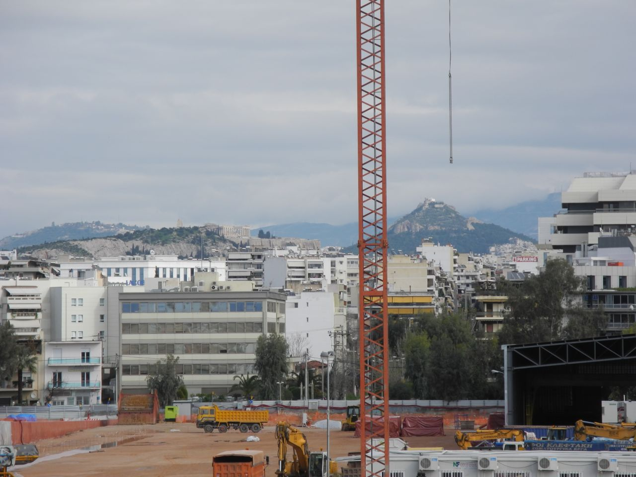 The Acropolis and Lycabettus hill as seen from the construction site.