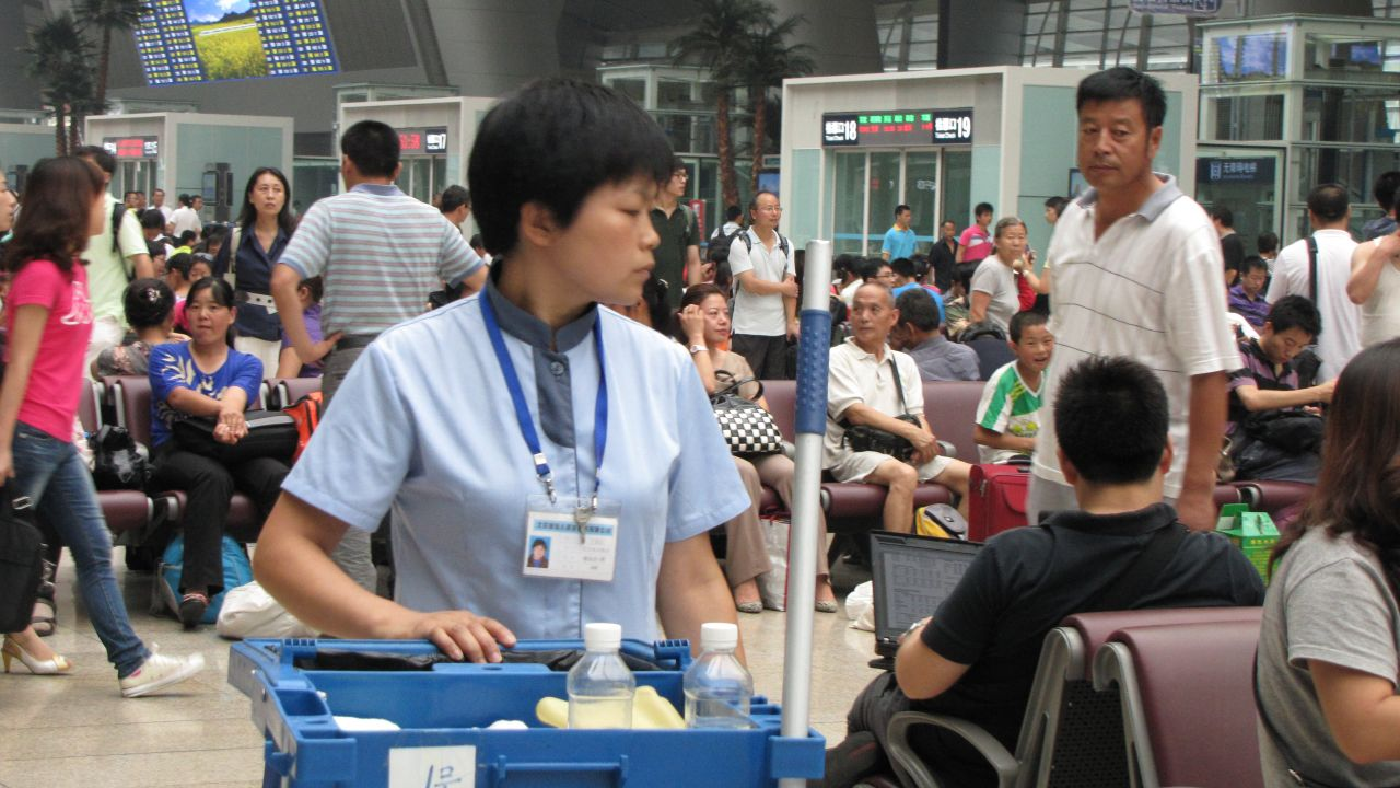 Professor Ross Coomber observed that in China the relative cleanliness of a place determines whether or not people will spit inside. This photo is from Beijing South Railway Station, which is pretty clean.
