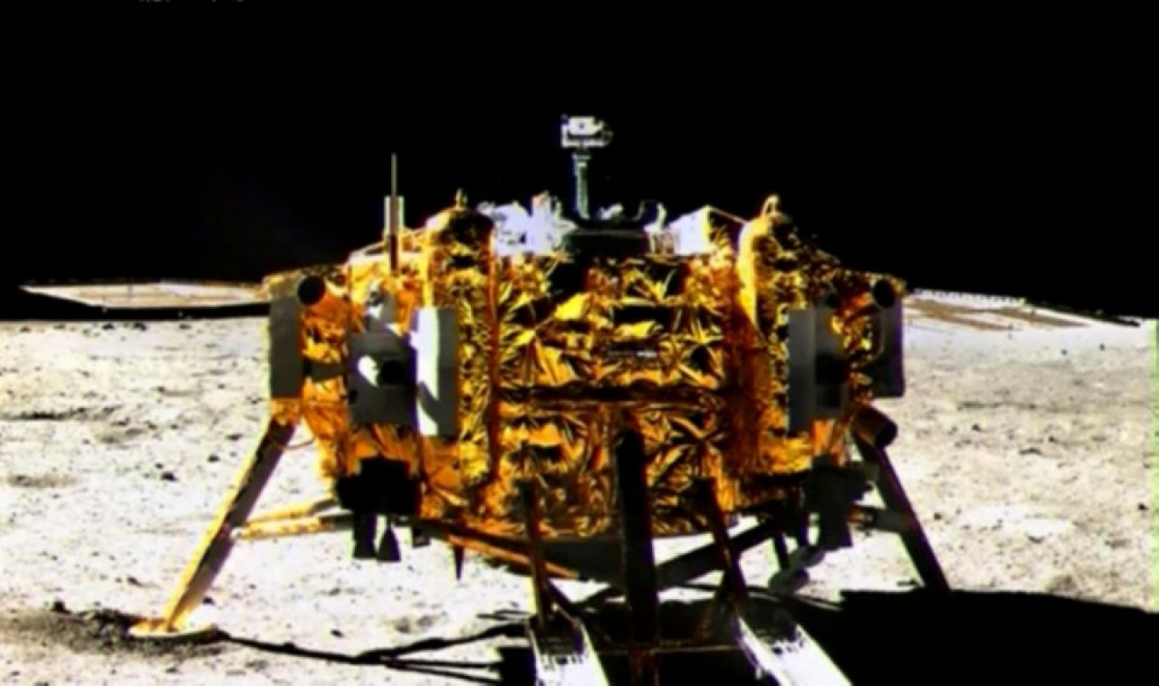 A photo of the Chang'e-3 lander taken by Yutu rover.
