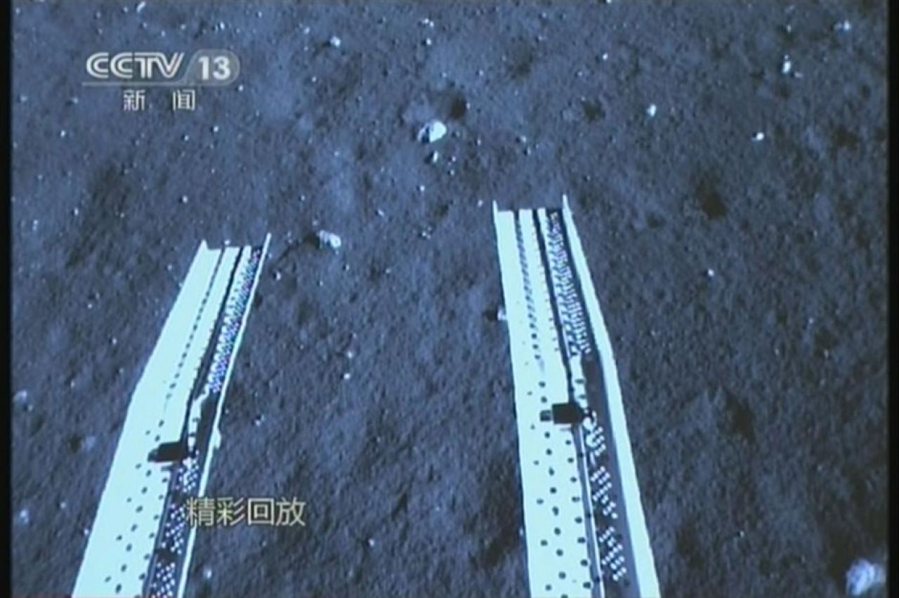 A framegrab of the ramps prior to Yutu's deployment on the lunar surface.