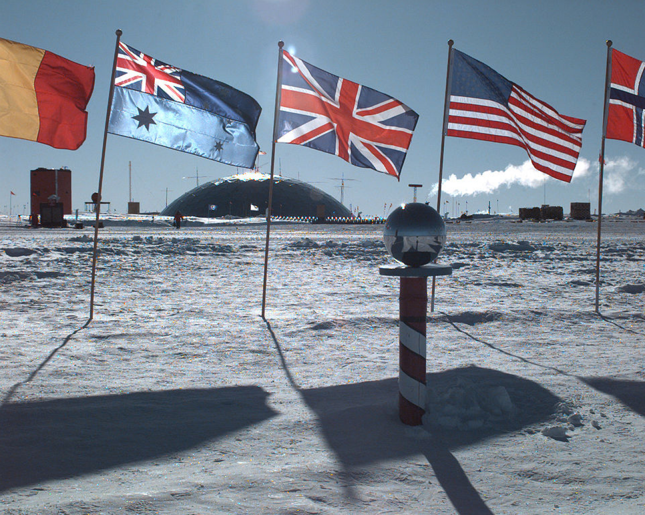 The ceremonial South Pole at the Amundsen-Scott Station.