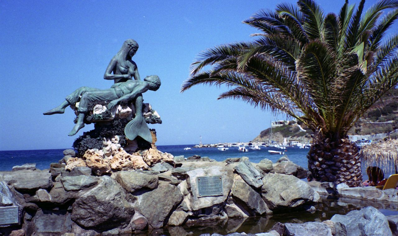 Statue in Kini village dedicated to the ones who were lost at Sea. Syros way of life was always linked with the Aegean Sea as most of its citizens were fishermen or navy-yard workers