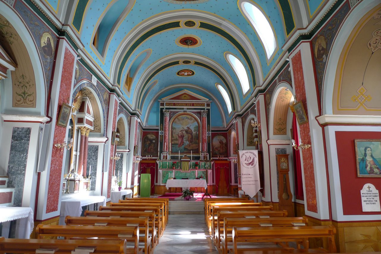 Ermoupolis' churches are unique and probably the most colorful a traveler can find in Greece