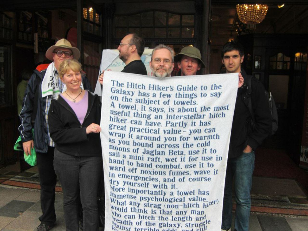 ZZ9 Plural Z Alpha member and its former president David Haddock holding a special Hitchhiker's towel.