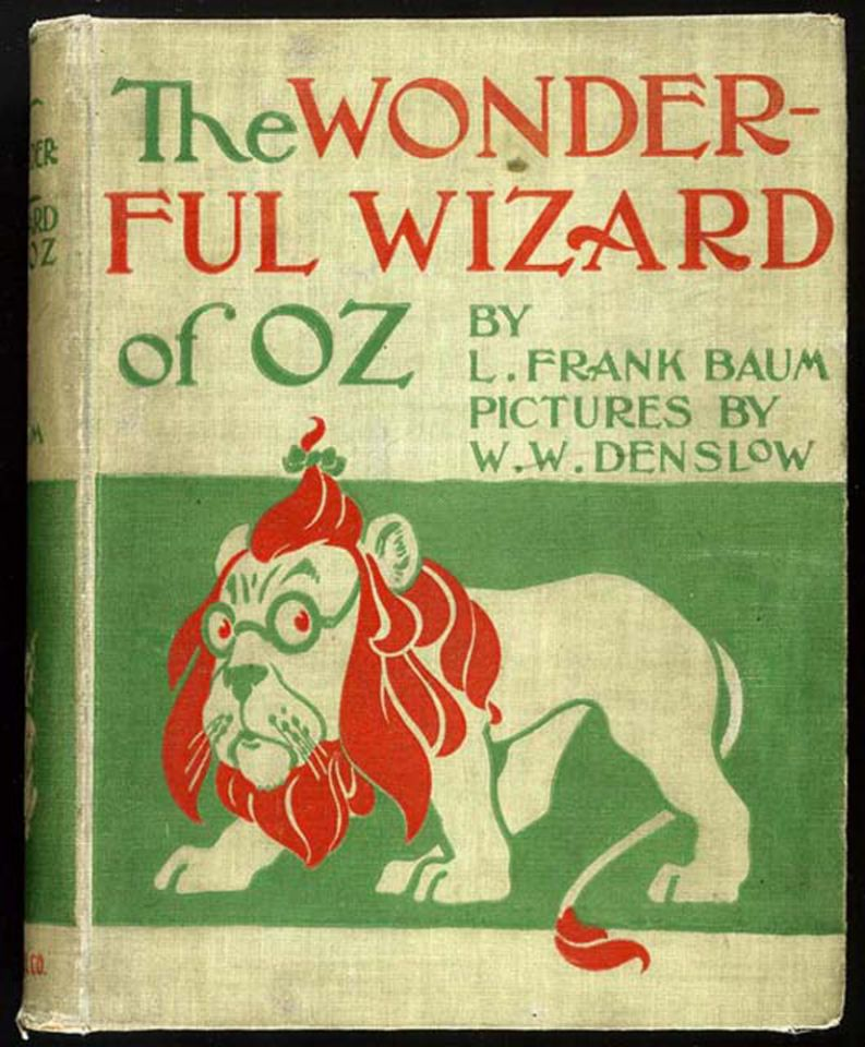 "MGM paid US$75,000 for the film rights to ""The Wonderful Wizard of Oz"", written by Lyman Frank Baum and illustrated by W. W. Denslow in 1900. 'Oz' was created after Frank Baum saw A-N and O-Z on his office filing cabinet."