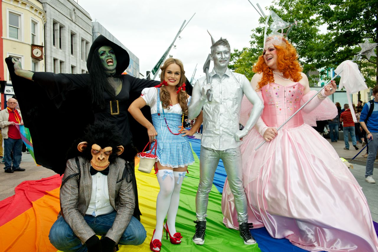 The Wizard of Oz has been identified as being of importance to the LGBT community, in part due to Judy Garland's starring role. Pictured: Participants in Ireland's annual Cork Gay Pride LGBT Festival Parade.