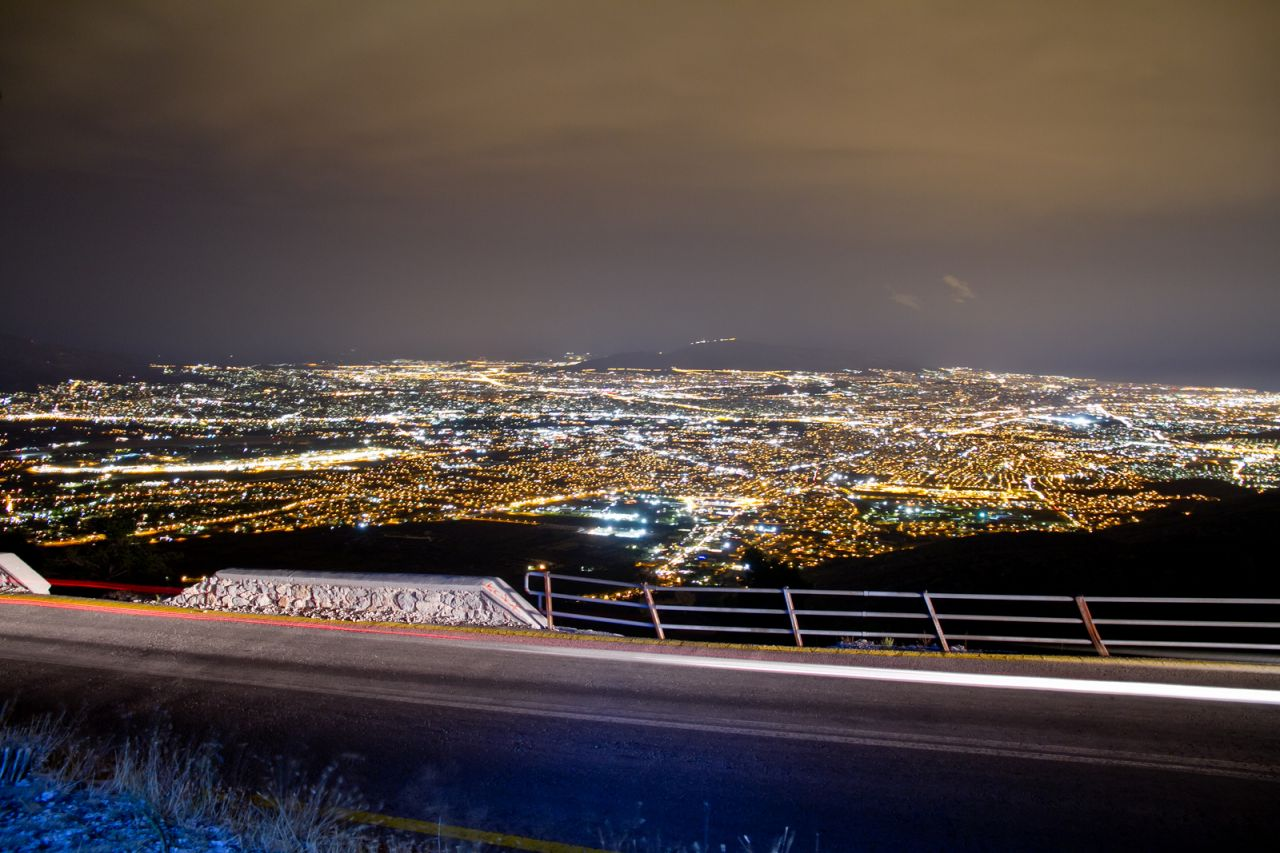 Panoramic night-view of the vast city of Athens as it looks from Parnitha mountain