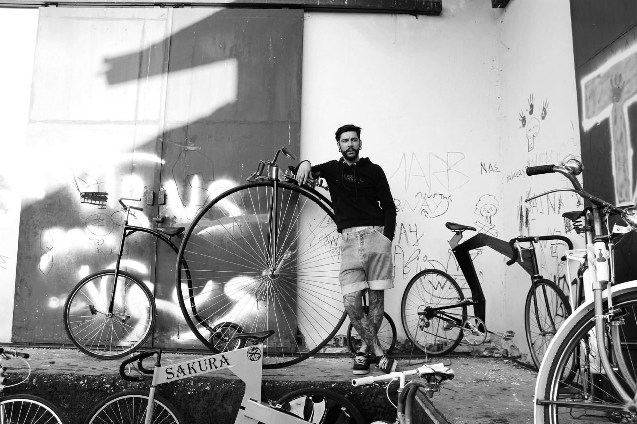 Vangelis Karkagias with some of the bikes he has created.