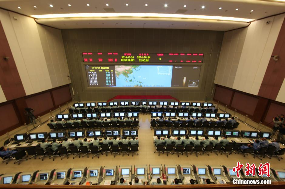 Mission Control for the Chang'e-5 T1 lunar return test flight that lifted off from the Xichang Satellite Launch Center in Sichuan, at 0200 Beijing time on October 24, 2014