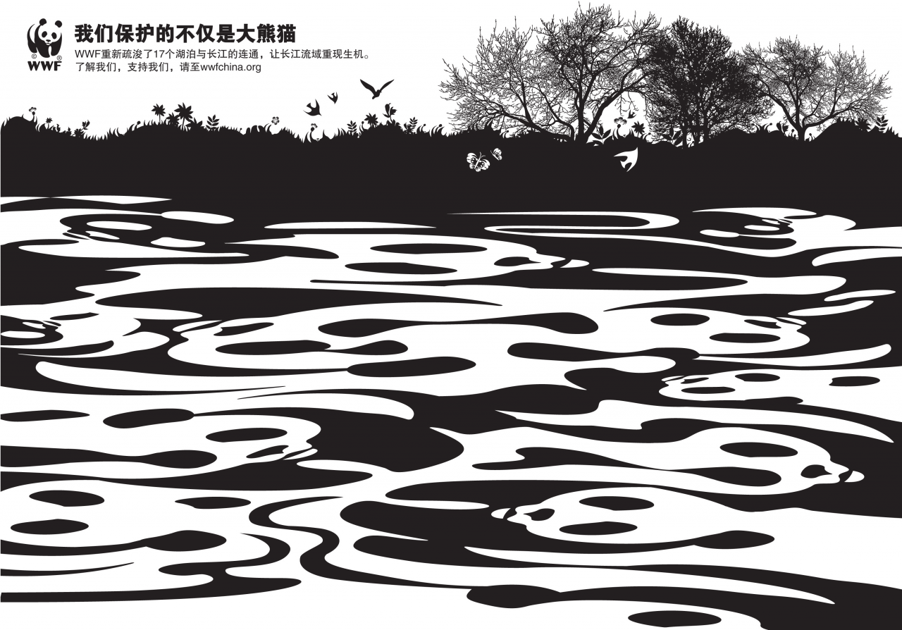 In this 2009 campaign for the World Wide Fund for Nature (WWF) SHTYPE used the NGO's well-known panda logo to create a clean black and white look.