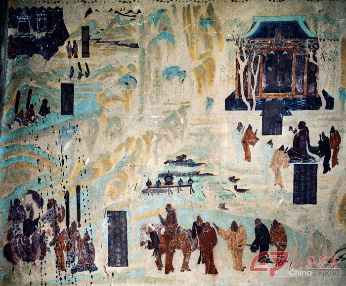 The Mogao Grottoes in northwest China's Gansu Province are most famous for their murals, found on the walls and ceilings of the caves and in niches, depicting Buddhist images and stories as well as prophets and deities.
