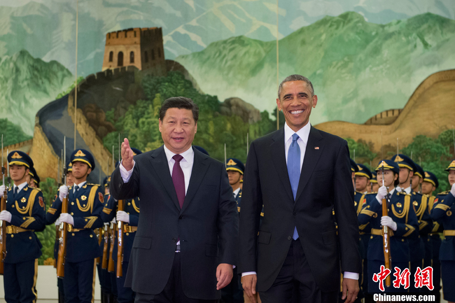 Chinese President Xi Jinping holds a red-carpet ceremony to welcome U.S. Barack Obama at the Great Hall of the People in central Beijing, Nov., 12, 2014.