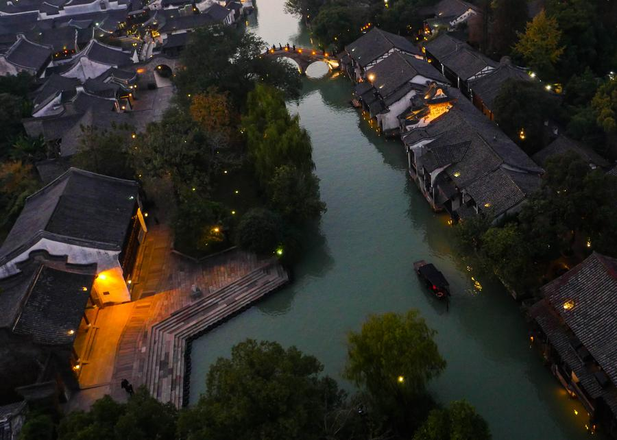 Photo taken on Nov 18, 2014 shows the aerial view of Wuzhen, Zhejiang province.