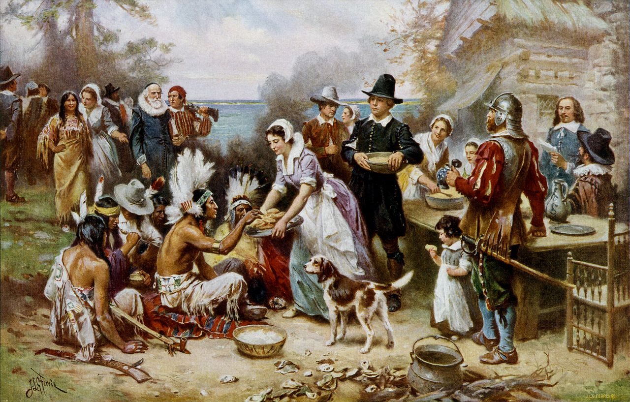 """The First Thanksgiving"" by JLG Ferris is a romanticized view of the 1621 origin story. The inaccuracies include the Pilgrims' clothing and the depiction of the Wampanoag tribe sitting on the ground."