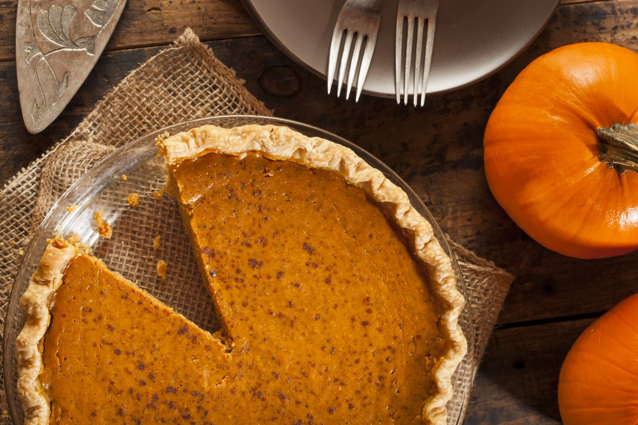 Pumpkin pie is a traditional Thanksgiving dessert made from pumpkin-based custard and baked in an open pie crust. Nutmeg, cinnamon, cloves and ginger are commonly added for flavor.