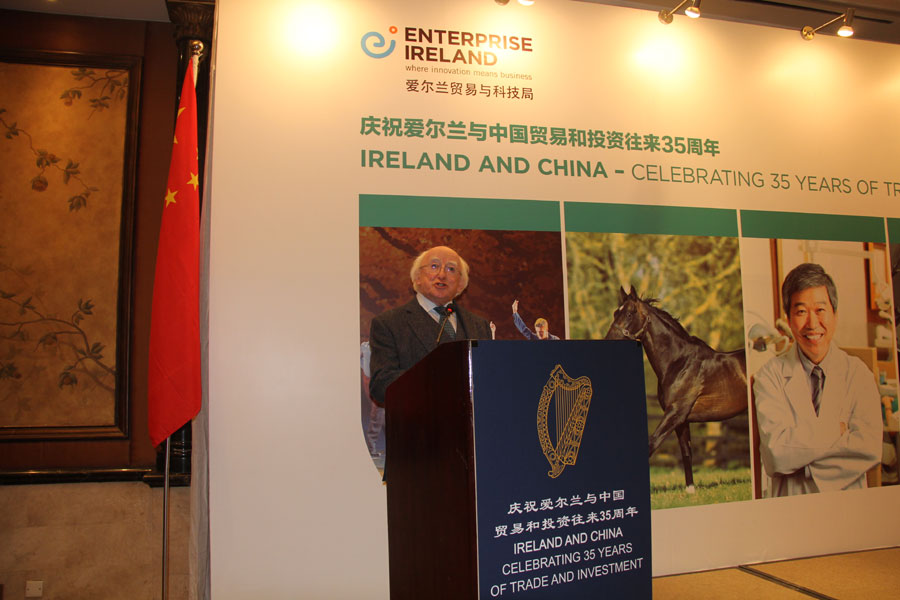 Irish President Michael Higgins makes a speech about Irish economy as well as trade and investment between China and Ireland on Dec. 9, 2014 during a business breakfast between Irish and Chinese enterprises and universities in Beijing.