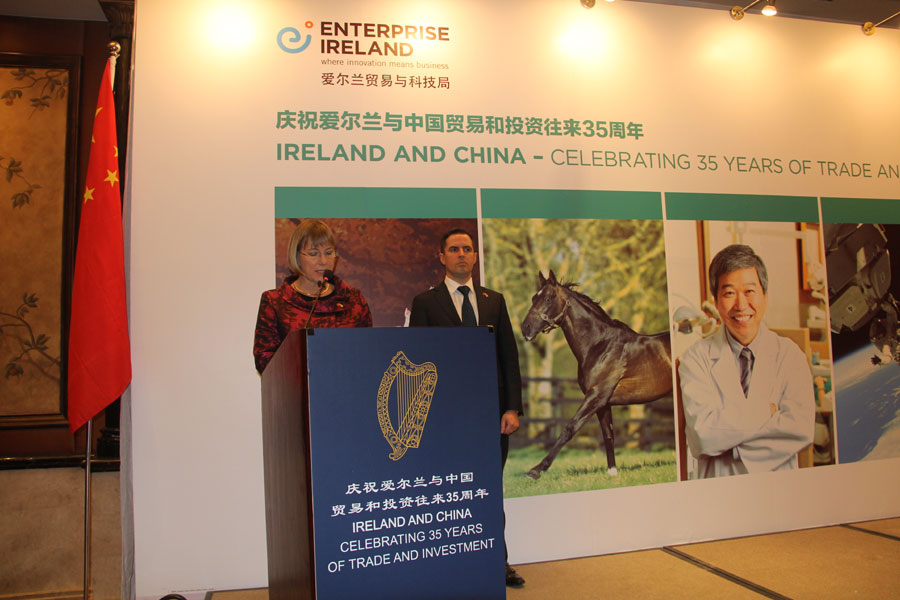 CEO of Enterprise Ireland Julie Sinnamon and CEO of IDA Martin Shanahan make the openning remarks ahead of China-Ireland business breakfast hosted by Enterprise China, in St Regis Hotel, Beijing on December 9, 2014.
