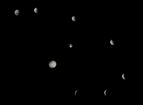 This composite image shows the Moon from the far side, in different phases during its orbit around the Earth, taken by the Change 5-T1 service module.