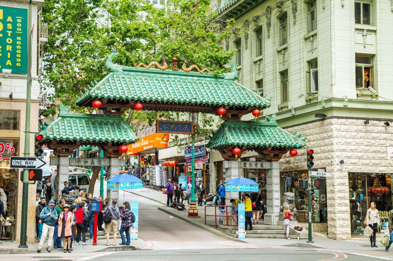 A Gateway Arch (Dragon Gate) on Grant Avenue at Bush Street in Chinatown in San Francisco.