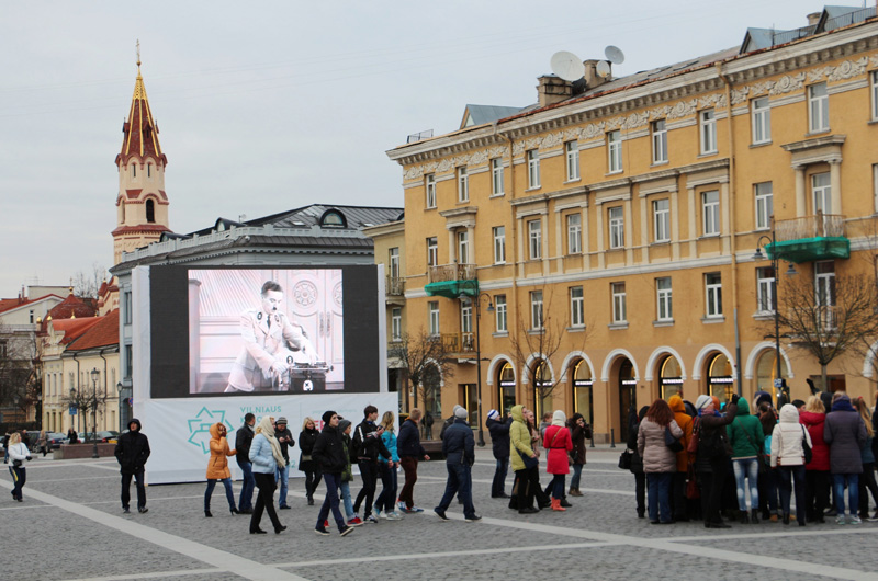 2014 was the 100th anniversary of Charlie Chaplin's screen debut, so the festival screened some of his films in Vilnius Town Hall Square. Here, The Great Dictator (1940) can be seen.