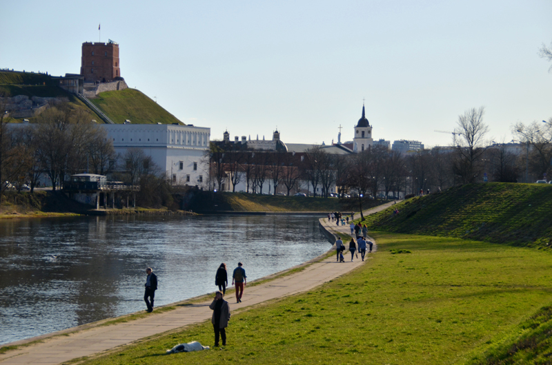 Lithuanian people in the capital of Vilnius enjoying the warmest Sunday this spring on the right bank of the river Neris.