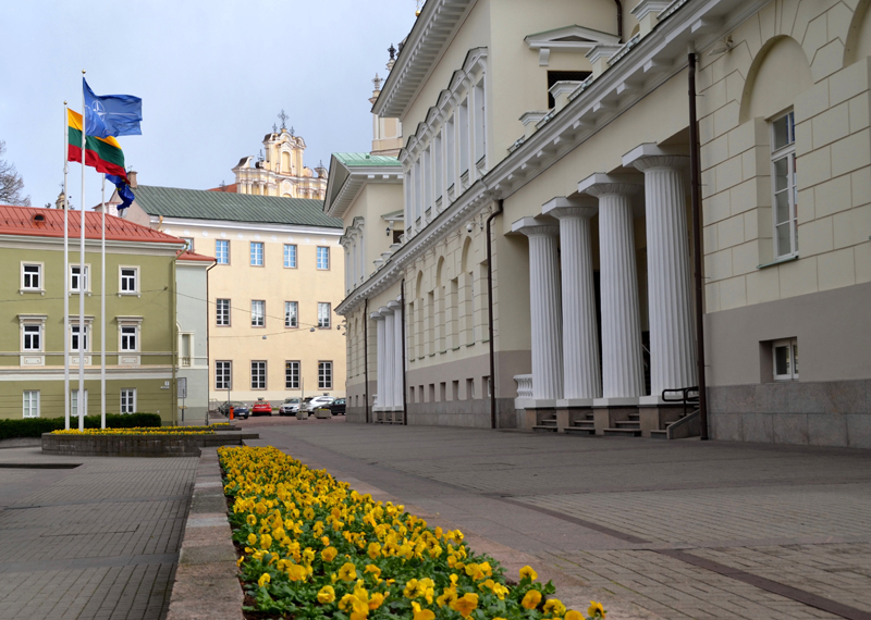 Presidential Palace of Lithuania with Vilnius University in the background.