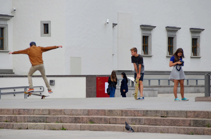 Teenagers love to gather in the Cathedral square to skate