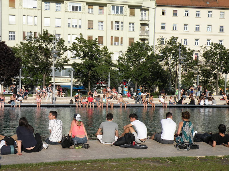 Bankside in Budapest on a hot day