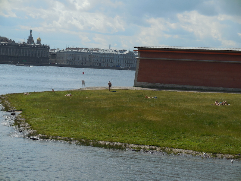 Summertime, when you lie in the sun in the center of St. Petersburg