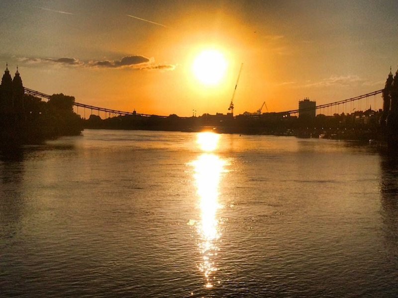 Sunset over the sparkling waters of the Thames