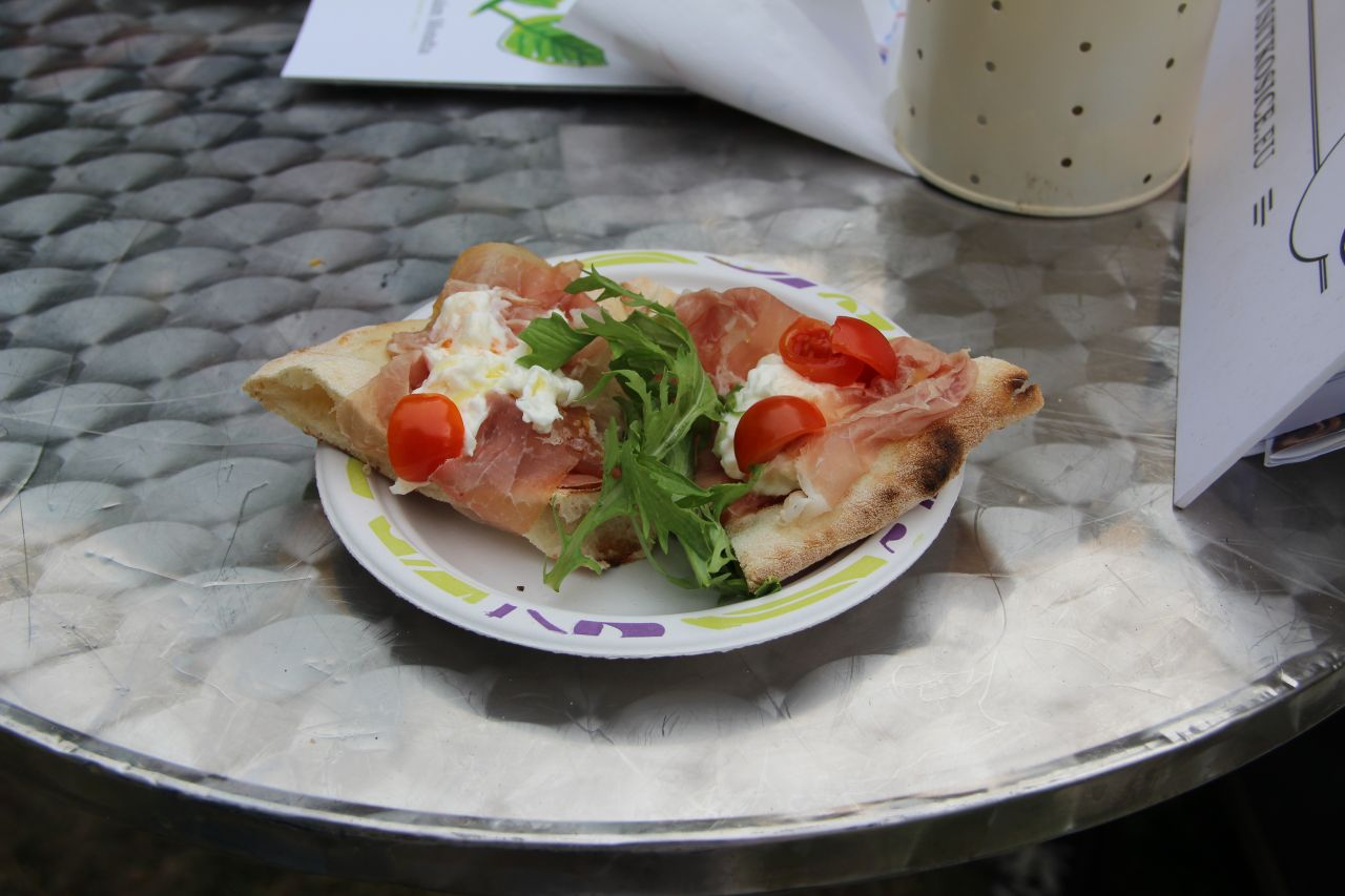 One of the dishes served by Anyukám Mondta chef Szabolcs Dudás was burrata cheese and prosciutto ham on focaccia bread.
