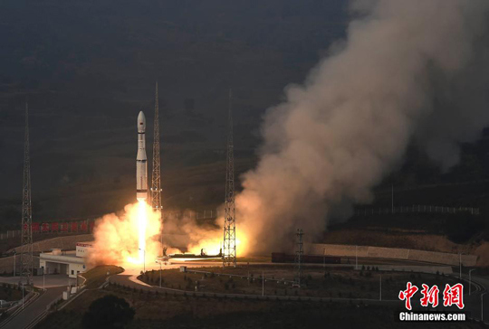 The maiden flight of China's Long March 6, blasting off from the Taiyuan Satellite Launch Centre at 07:01:14 Beijing time on September 20, 2015.