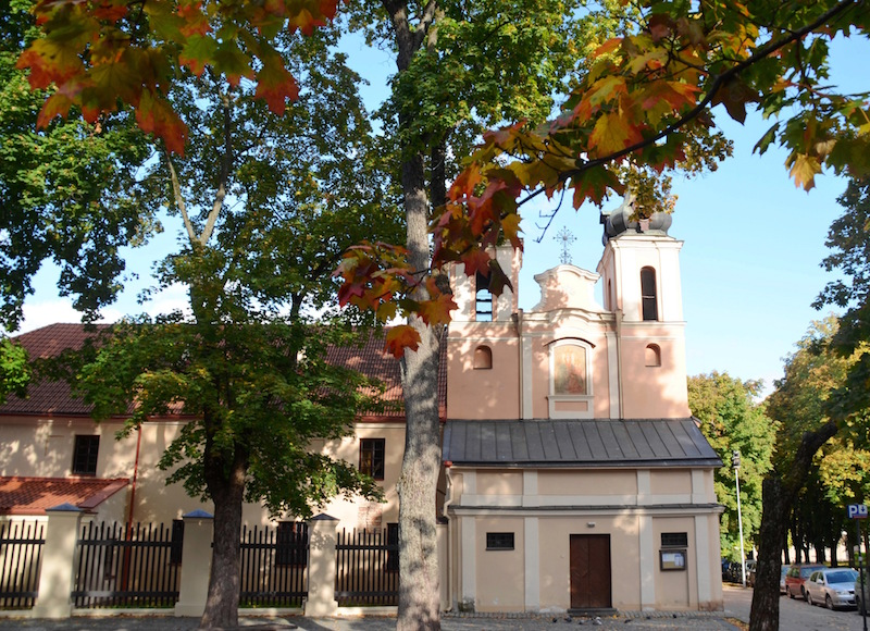 Charming little church of the Holy Cross (Bonifrati) in Vilnius Old Town