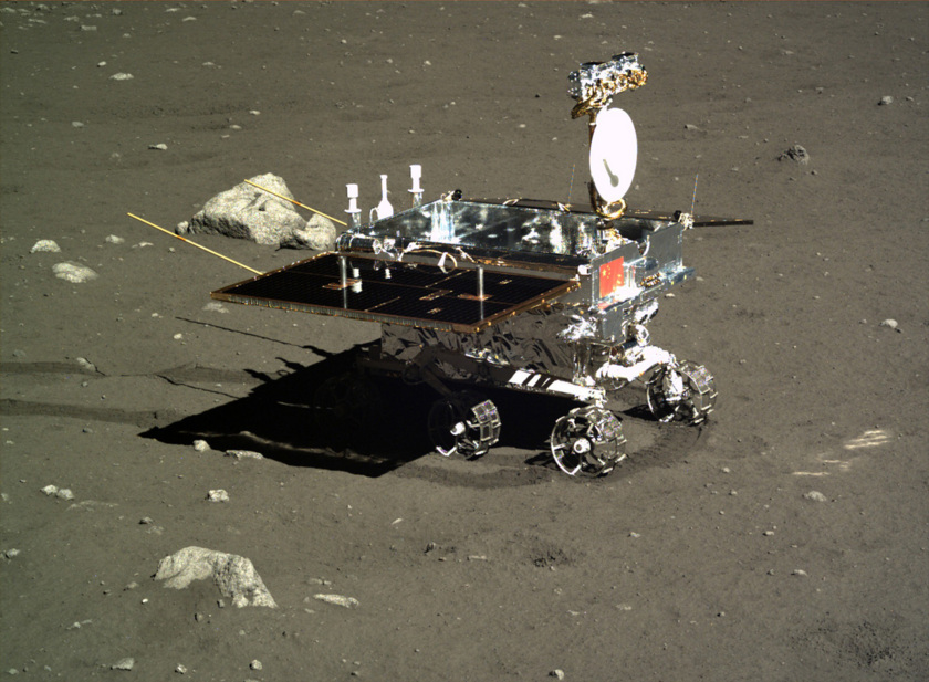 A photo of Yutu (Jade Rabbit) taken by the Chang'e-3 lander in December 2013 on the surface of the Moon.