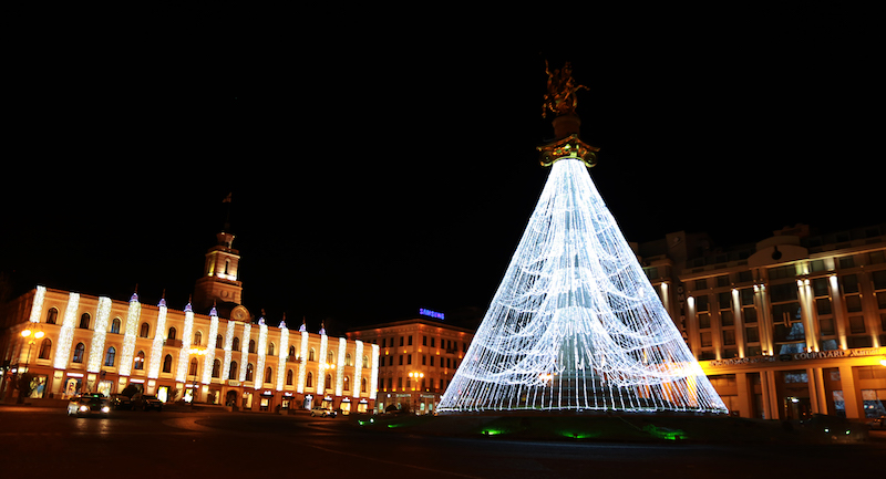 The 35-metre high St. George Monument in Tbilisi's Freedom Square lit up like a Christmas tree ahead of New Year's Eve celebrations in Tbilisi, Georgia