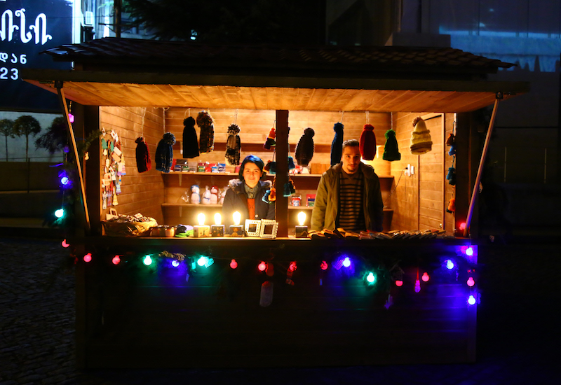 Chalet of homemade toy's at the Christmas market in Tbilisi, Georgia