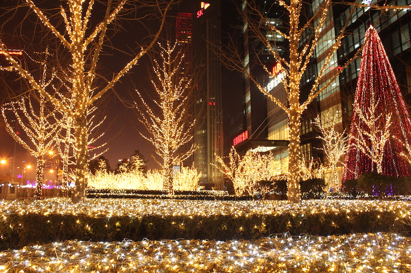 Christmas decorations outside an office building in Chaoyang district, Beijing