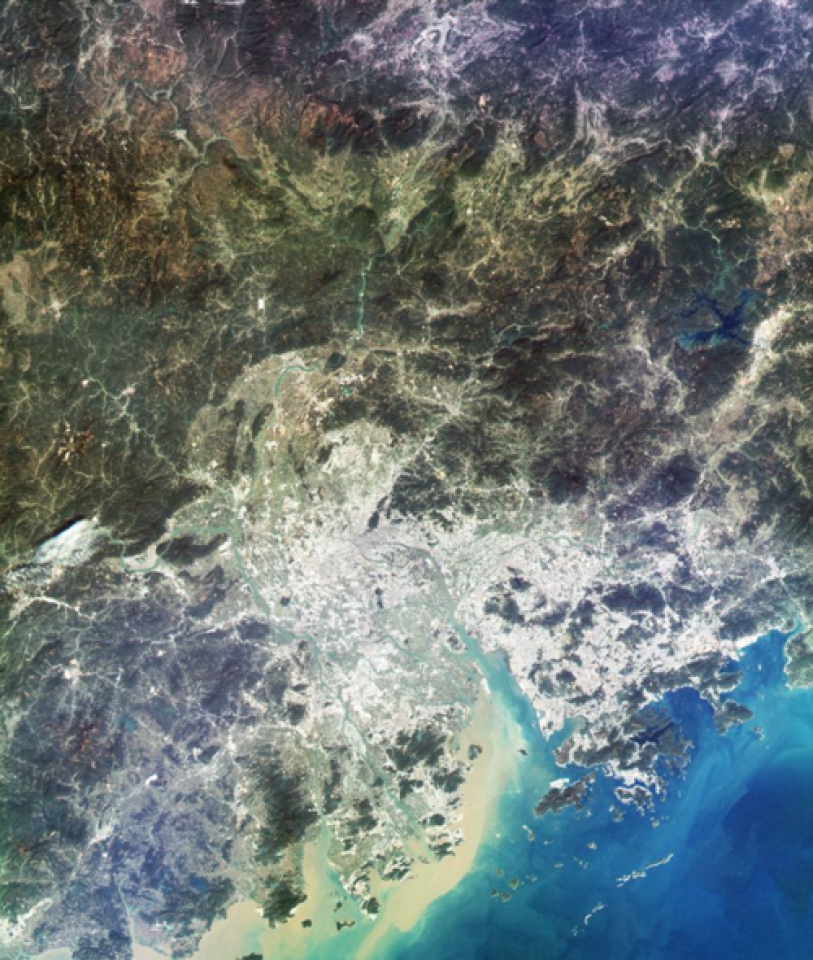 The Pearl River Delta captured by the Chinese Gaofen-4 geostationary satellite.