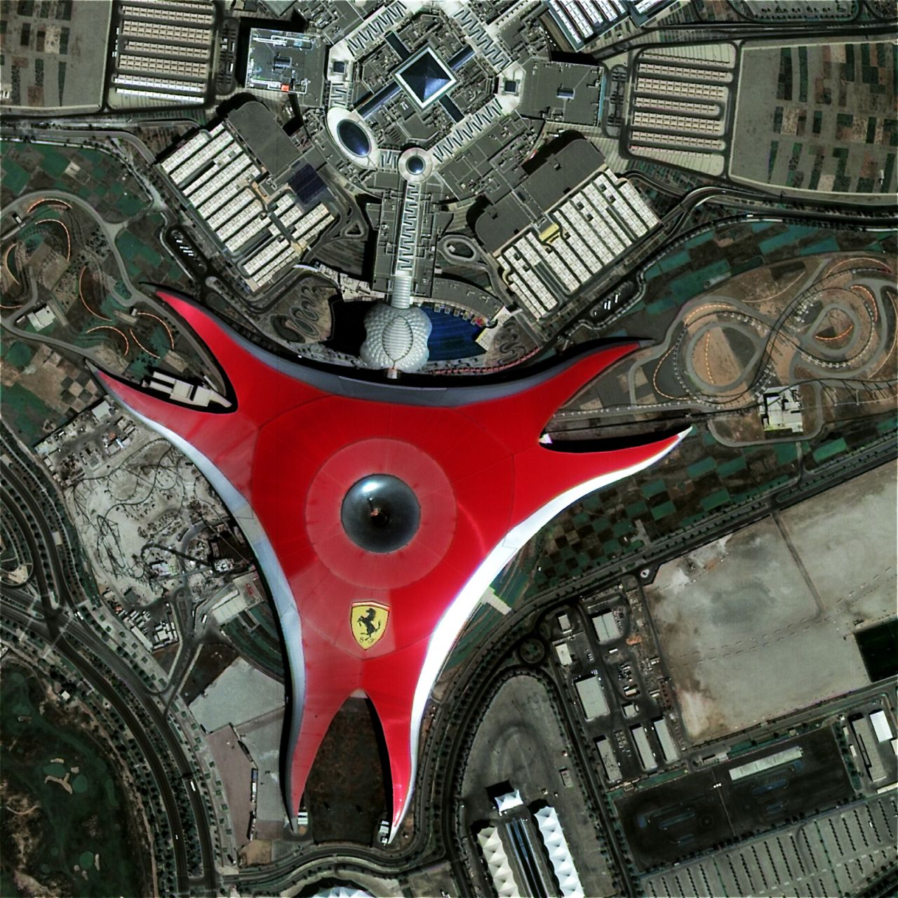 Ferrari World in Abu Dhabi, imaged by the Jilin-1A optical satellite over 600km above the Earth.