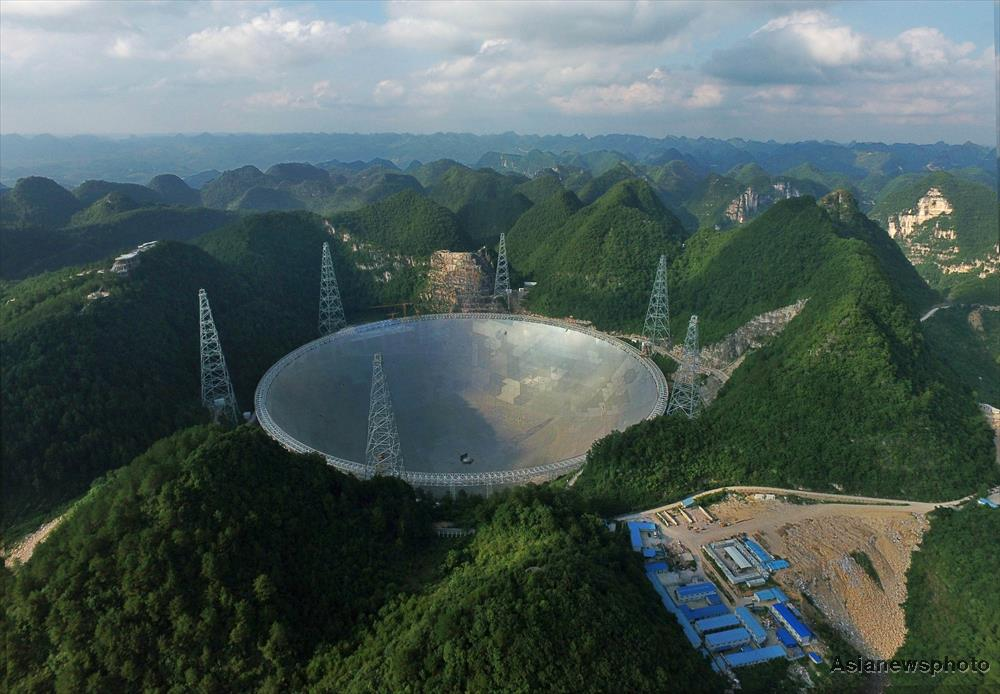 An aerial view of the FAST radio telescope in Guizhou Province, China.