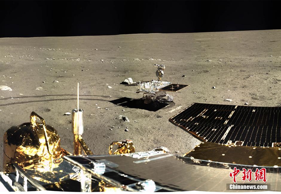 China's Chang'e-3 lander and Yutu (Jade Rabbit) rover operating on the Moon after landing in late 2013.