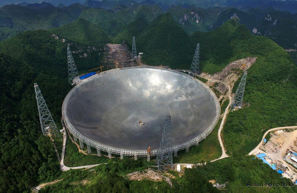 The structurally completed FAST telescope in Guizhou Province, China.