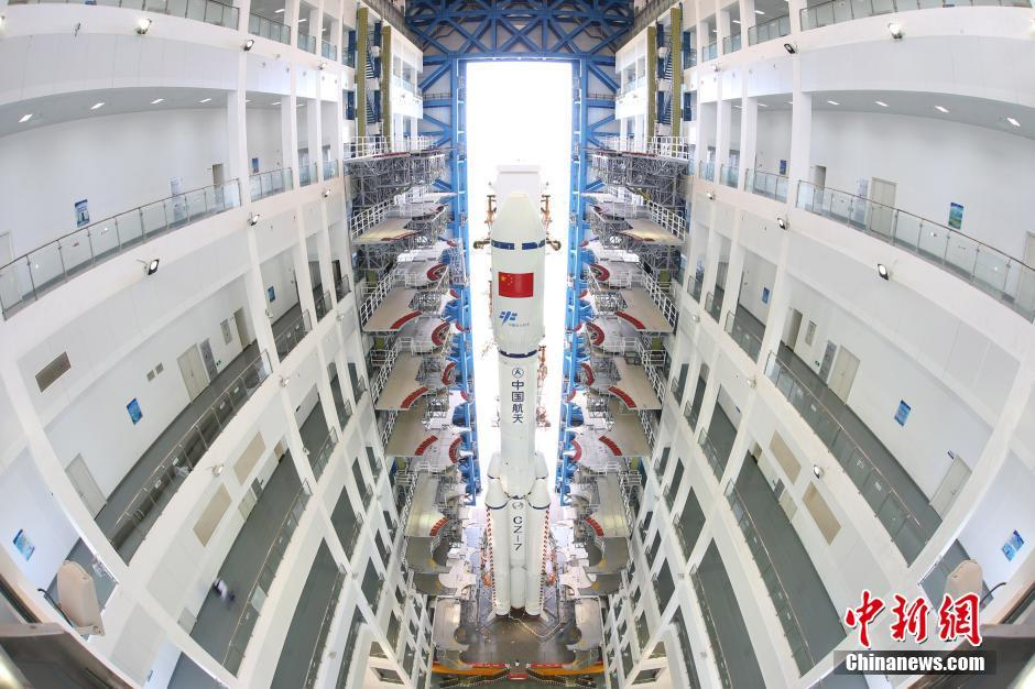 The first Long March 7 in the vertical assembly building at Wenchang in June 2016.