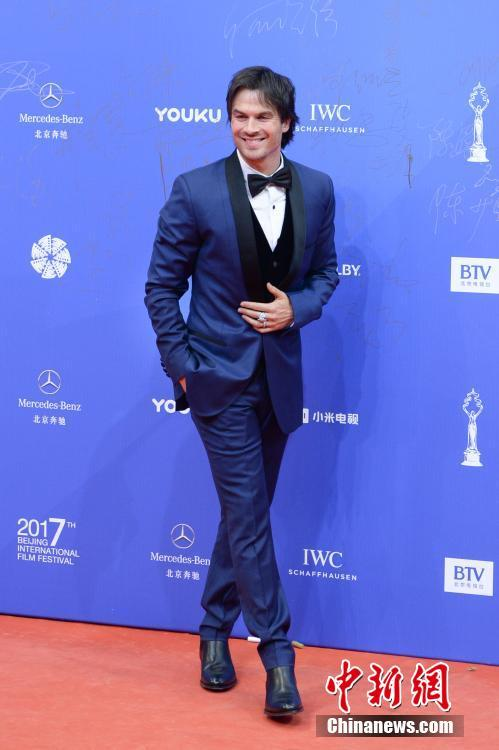 American actor Ian Somerhalder from the United States on the red carpet for the Beijing International Film Festival opening ceremony on April 16, 2017.