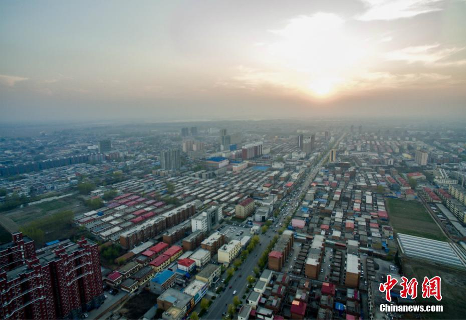 An aerial view over a patch of Xiong'an New Area, Hebei Province, in April 2017.
