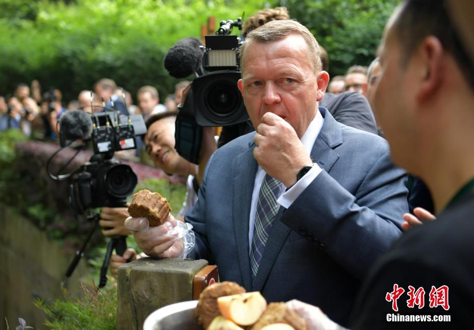 Danish Prime Minister Lars Rasmussen was eating steamed bread of corn, a special food for giant panda but also can be eaten by human.